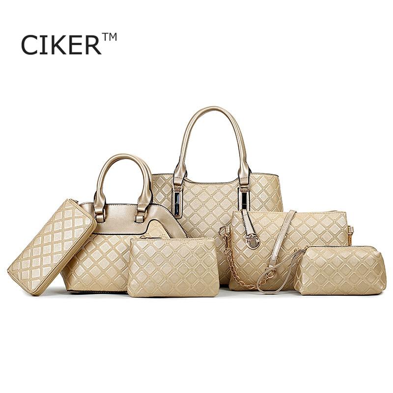 CIKER 6pcs/set Woman Bags 2017 Bag Handbag Fashion Handbags Women Famous Brands Shoulder Bags Female Sac A Main Femme De Marque