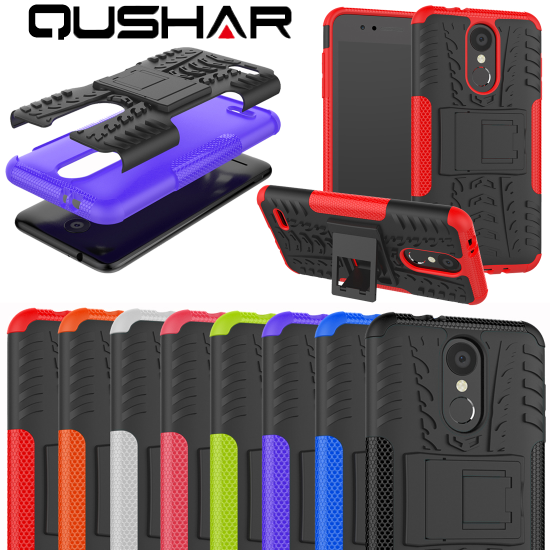 Cool Armor Phone Cover Case For LG K8 K9 K10 V30 V20 G4 G6 K4 X Power Style Tires Stand Soft TPU Hard PC 2 in 1 Phone Shell Red
