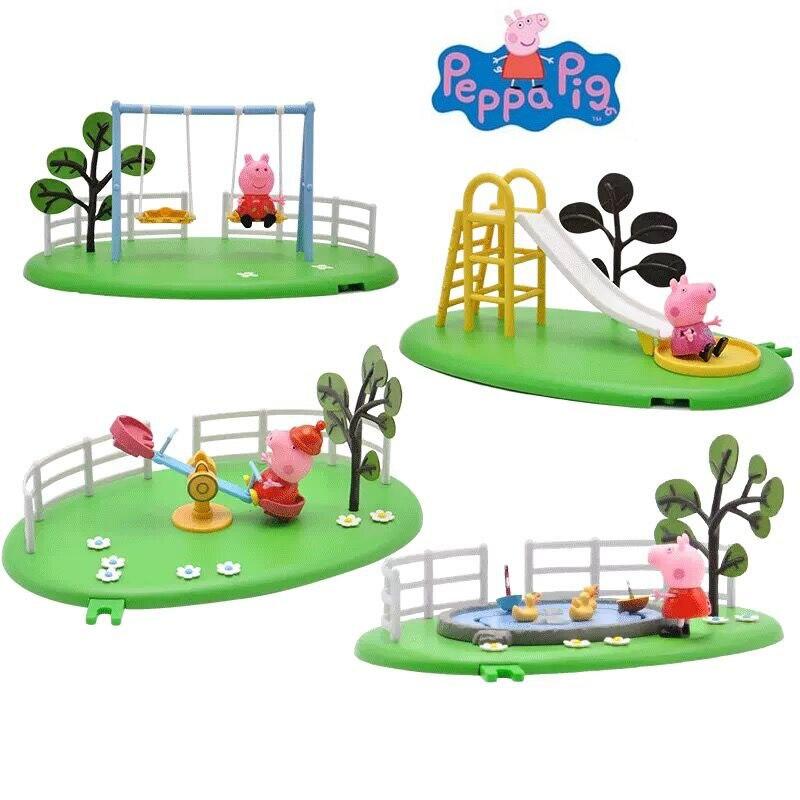 2018 hot Genuine Peppa Pig Pond Playground Fun Peppa Playtime Set parent child interaction toys kids birthday gift original box