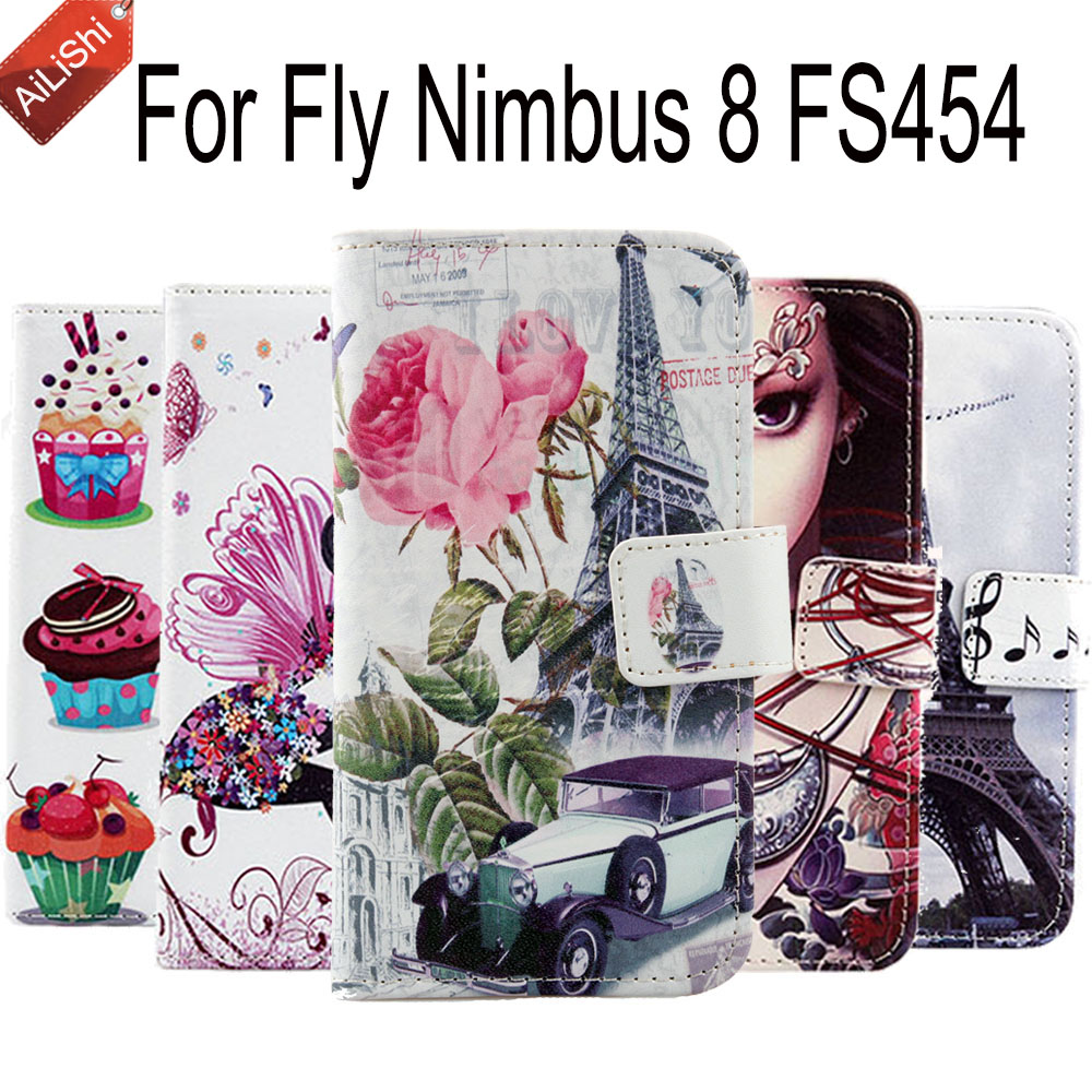 High Quality PU Flip Leather Case For Fly Nimbus 8 FS454 Luxury Wallet Protective Cover Skin Nimbus 8 FS454 Fly Case Hot image