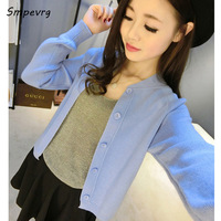 Smpevrg Hot Sale Fashion Casual Short Women Cashmere Knit Coat O Neck Full Sleeve Sweater Cardigan