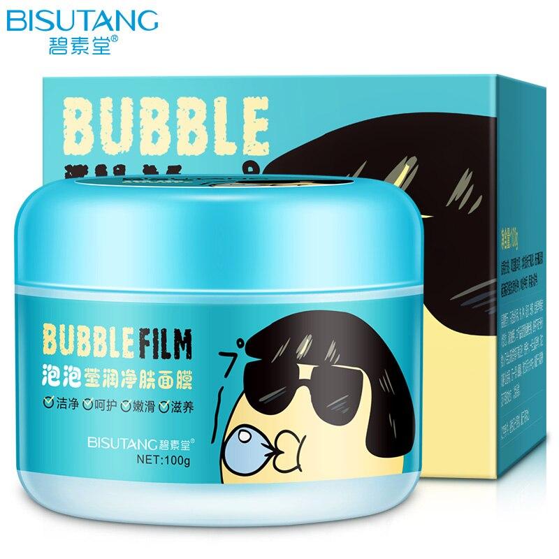 BISUTANG Schaum Feuchtigkeits Whitening Oil Control Schrumpfen Poren Hautpflege Gesichtsmaske Blase Waschbar Maske Für Gesicht