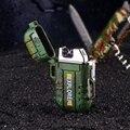 Ветрозащитная двухдуговая плазменная Зажигалка Explorer  зажигалка для курения с USB зарядкой  электрическая металлическая зажигалка