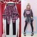 Mujeres coreanas leggings patchwork todas correspondan casual plaid algodón blusa y leggings patchwork estilo encuadre de cuerpo entero pantalones Envío gratis