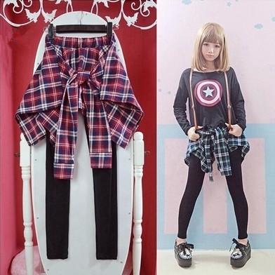 Mulheres coreanas patchwork leggings durante todo o jogo ocasional de algodão xadrez blusa & leggings estilo patchwork calças de comprimento total Frete grátis