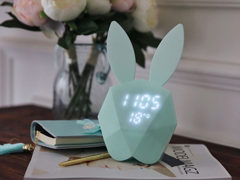 Rabbit night light Alarm Clock Voice activated led digital clock Intelligent Voice Control USB Charging Small Night Light AUG (4)