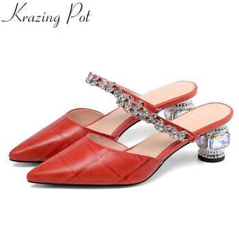 Krazing Pot plus size genuine leather high heels women pumps crystals decoration slip on mules pointed toe wedding shoes L1f9