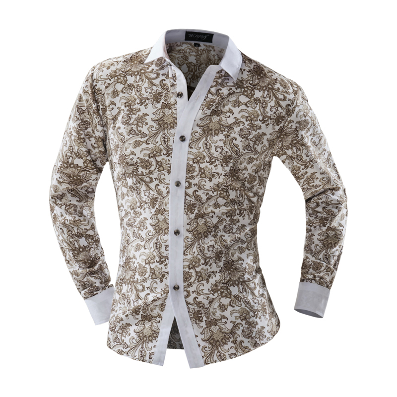 7b6188e90a7 2018 Summer New Mens Casual Shirts Fashion Long Sleeve Brand Printed Male  Formal Business Floral Men Dress Shirt Size XXL YUJIE-in Casual Shirts from  Men s ...
