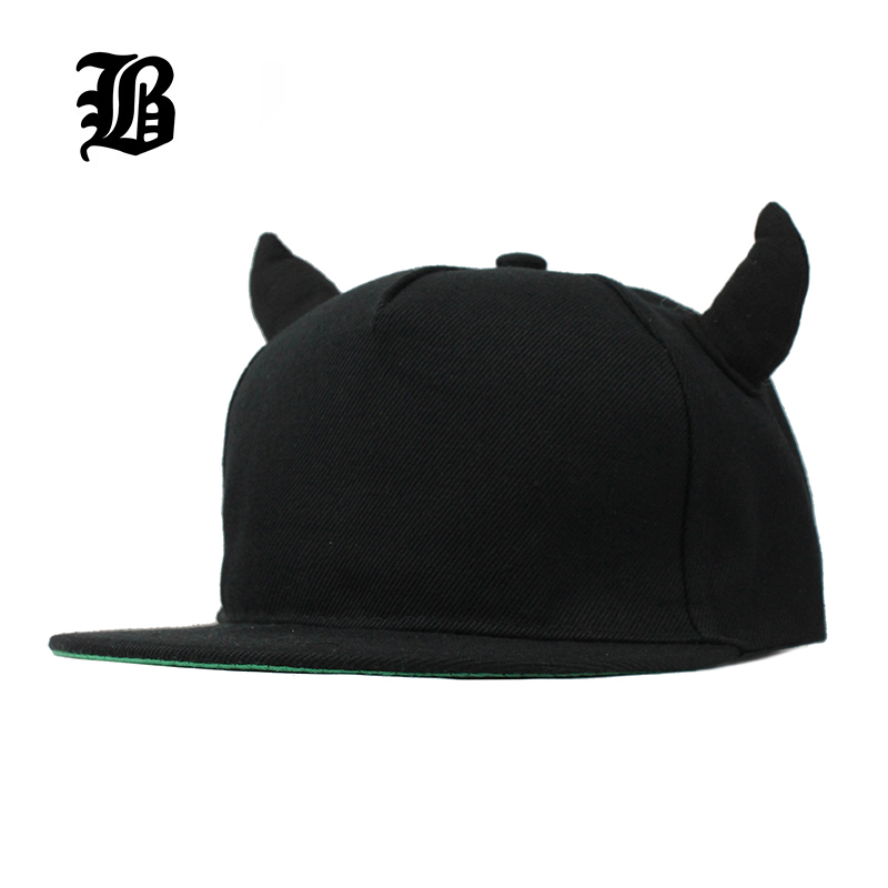 цена на [FLB] New 2015 Fashion Men Womens Bones Gorras Snapbacks  Little Devil Horns Ears Hip Hop Cap Baseball Caps Female Hats