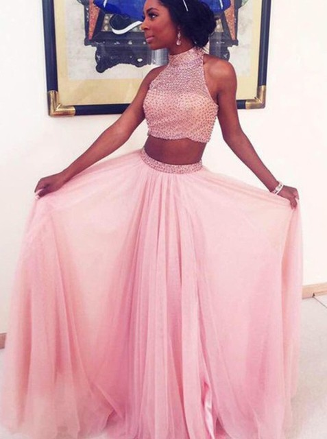 2016 Sexy Pink 2 Piece Prom Dresses Halter Sequined Beaded A Line