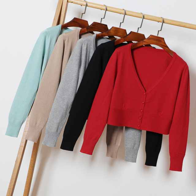 Rozmiar M-XXL wiosna jesień kobiety Knitting pełna rękaw głęboki dekolt w serek krótki swetry rozpinane damskie z dzianiny miękki sweter dla kobiet