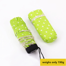 Small Five Folding Pencil Umbrella Ultra-thin Light Mini Rain Women Sun Gear Parasol Lady Lace