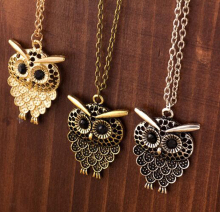 Women Vintage Cute Bronze Owl Pendant Long Sweater Chain Necklace