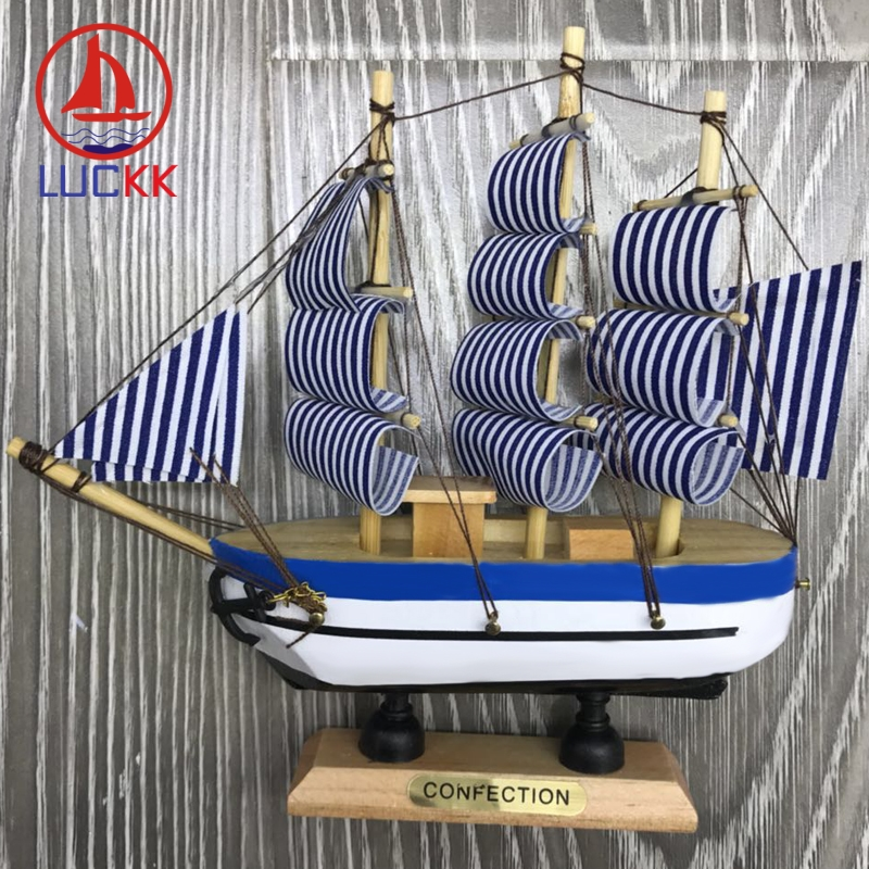 LUCKK 16CM Scandinavian Wooden Model Ship Nordic Home Interior Decoration Nautical Wood Crafts Room Miniature Ornaments Figurine in Figurines Miniatures from Home Garden