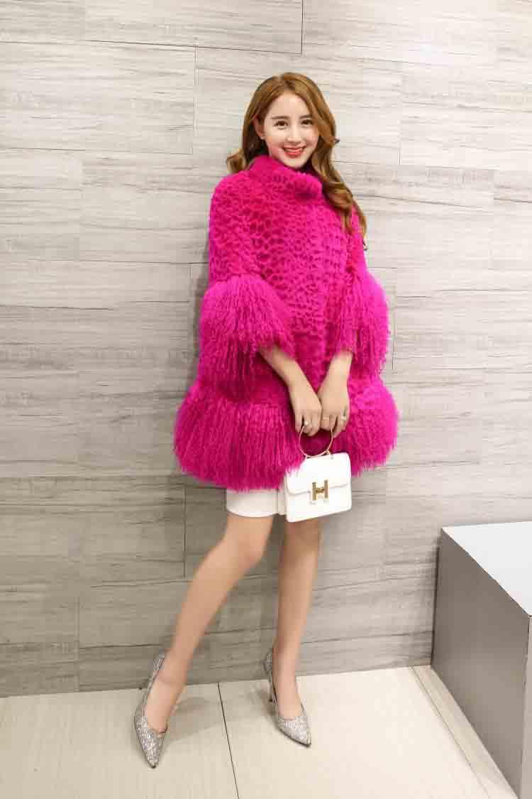 2019 New Genuine Rabbit Fur Coat Women Fashion Long Rabbit Fur Jacket With Lamb Tan Sheep Fur Hem Winter Overcoat Ksr327
