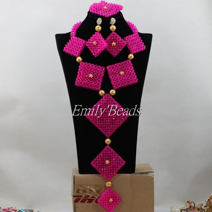 2015 New Fuchsia Pink African Costume Jewelry Set Nigerian Wedding Crystal Beads Jewelry Set Long Beads Free Shipping AIJ2872015 New Fuchsia Pink African Costume Jewelry Set Nigerian Wedding Crystal Beads Jewelry Set Long Beads Free Shipping AIJ287