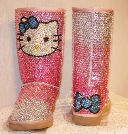 f875bef2632 2014 women snow boots cotton Full cover Diamond pearl Fashion Adult Shoes  Winter Genuine Leather Fur gradation hellokitty cat