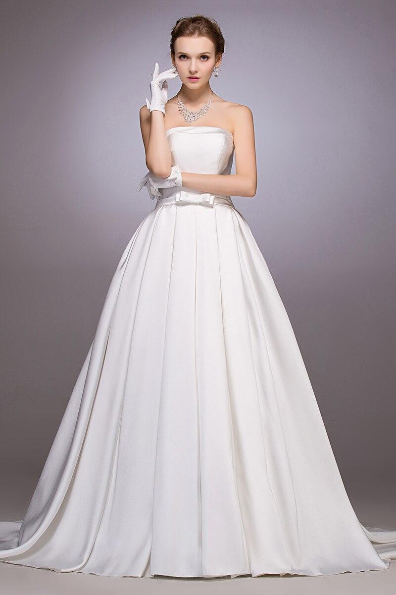 2016 nouveauté robe de mariée longue sans bretelles avec noeud bouton robe de bal robes de mariée robe de noiva blanc satin louisvuigon