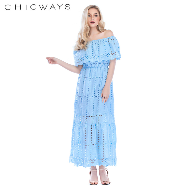 b8ddcbdf49 Chicways Women Cotton Long Dress off shoulder ruffle sleeve Maxi dress  eyelet embroidery cotton summer Hollow Out Casual Vestido