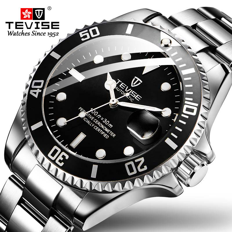 TEVISE Mechanical-Watch Automatic Steel-Band Luminous-Date Fashion Men Business