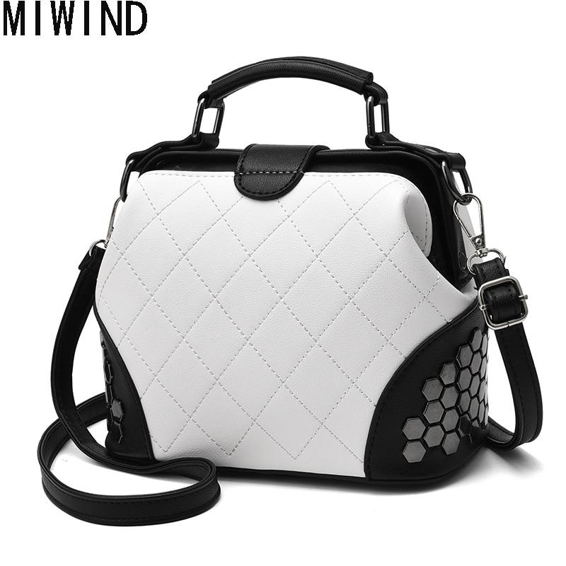 MIWIND Women Bag Fashion Shoulder Bag  2017 Vintage Leather Bags Women Messenger Bags Rivet Doctor BagTDX1229 miwind 100