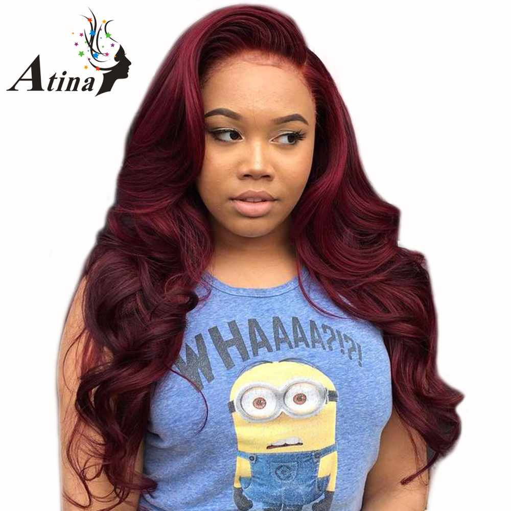 150 Density 99J Burgundy Glueless Lace Front Human Hair Wigs Red Brazilian Body Wave Preplucked Lace