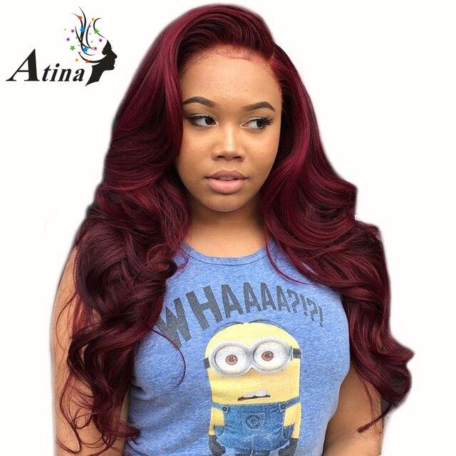 150% densidad 99J Borgoña sin pegamento encaje frontal pelucas de cabello humano rojo brasileño onda del cuerpo peluca frontal de encaje con bebé pelo