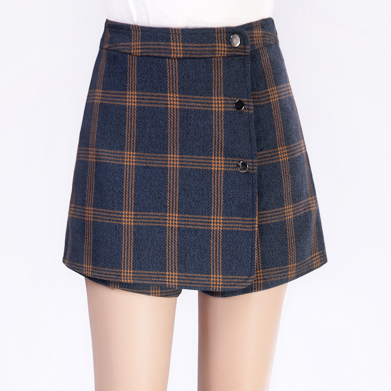 f3ee4c6693 Autumn and winter new wool plaid shorts high waist casual Korean A line  slim shorts skirts women Culottes plus size M 4XL-in Shorts from Women's  Clothing & ...