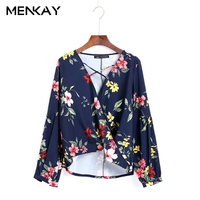 MENKAY European And American Style 2018 Spring New Fashion Wild Long Sleeved Floral Cross Belt