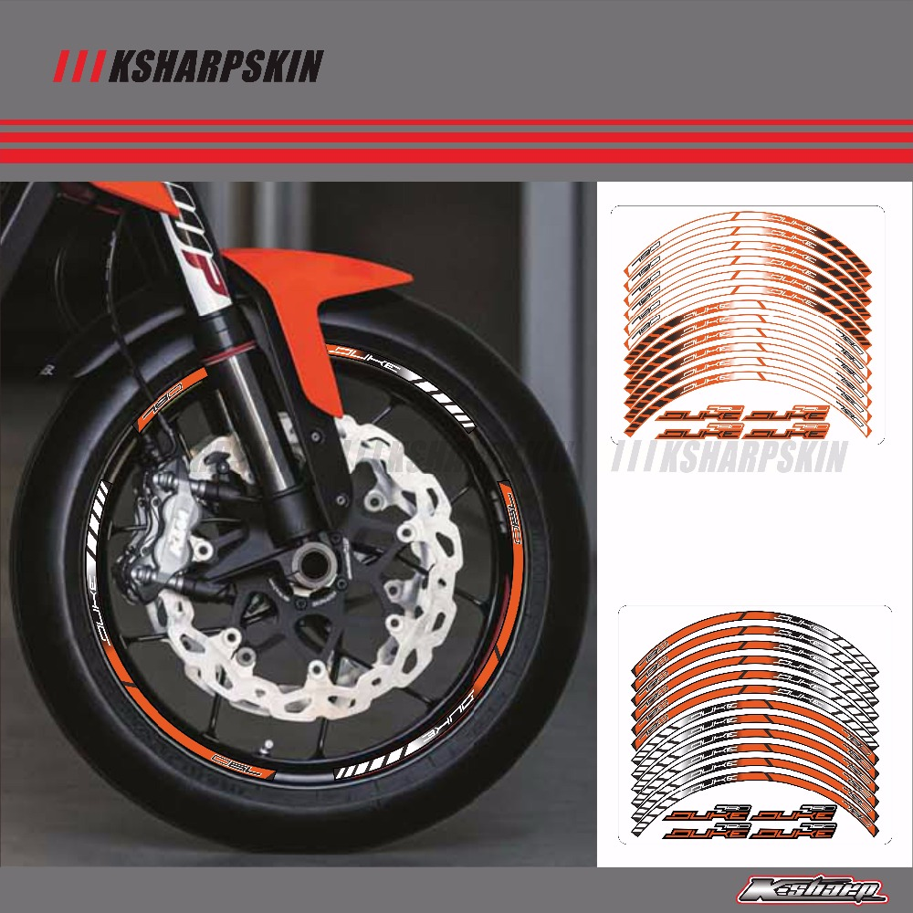 Motorcycle Wheel Rim Decals Wheel Reflective <font><b>Stickers</b></font> Stripes For <font><b>KTM</b></font> <font><b>DUKE</b></font> <font><b>790</b></font> image