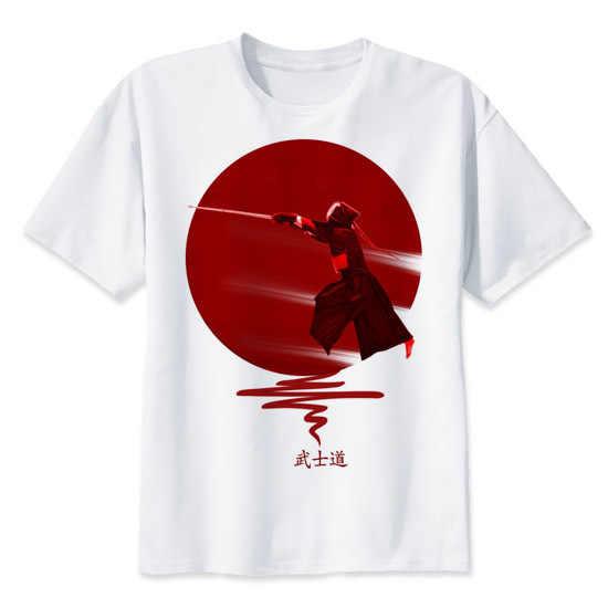 19de3c4158d5a Кендо воины печати случайные футболки мужские футболки с круглым вырезом  Модные мужские топы Мужчины футболка с