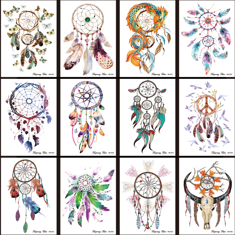 12pcs lot new dreamcatcher tattoo stickers shoulder arm tattoo sleeve body paint flowers birds. Black Bedroom Furniture Sets. Home Design Ideas