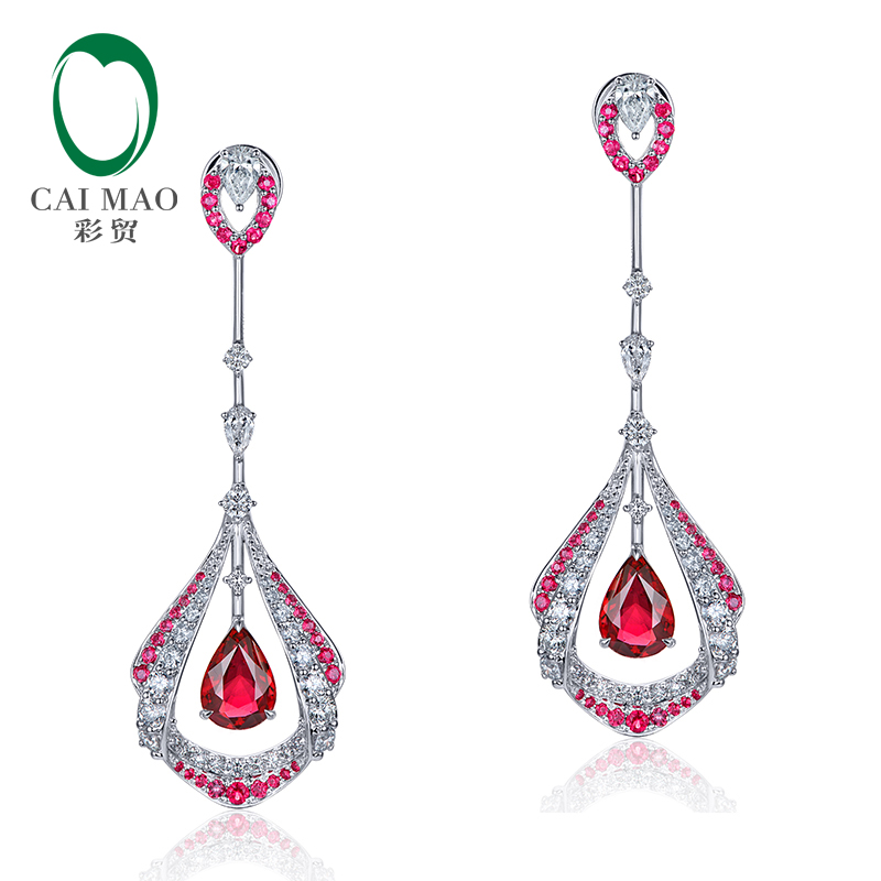 Beautiful 1.28ct Natural Pear shape Red Ruby and White Diamond in 18k White Gold Dangle Drop Earrings for Women stylish arrow shape embellished golden and white frame sunglasses for women