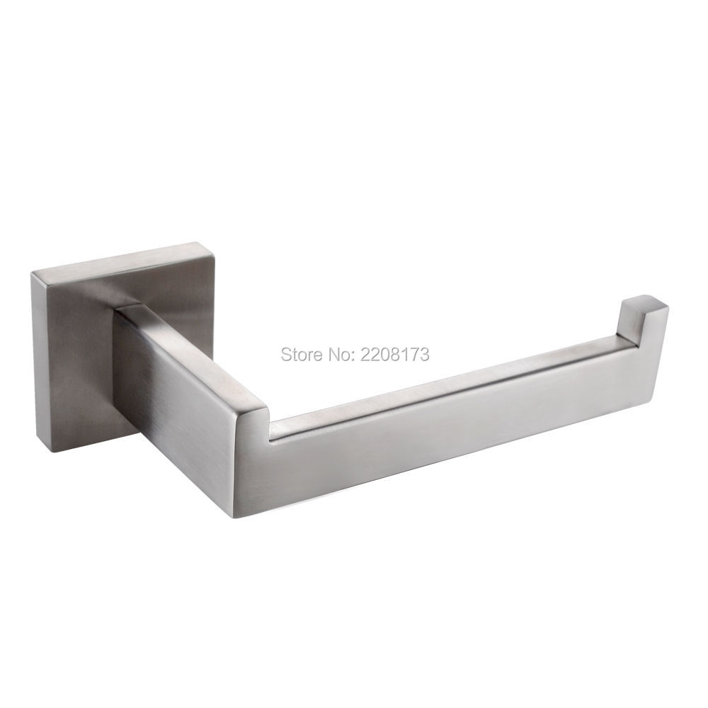 Whosale And Promotions Retail Luxury 304 Stainless Steel Brushed Nickel Finished Toilet Paper Holder Roll Quadrate