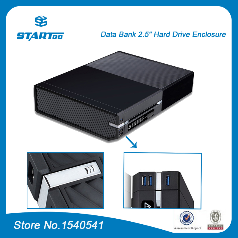 Hard Drive Storage Enclosure with 3 Front USB 3.0 Ports Media Hub for Xbox One Console-in