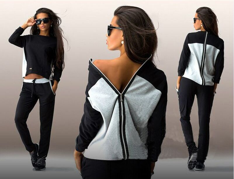 Back Zipper Suit Set 2019 Women Tracksuit Two-piece Sport Style Outfit Jogging Sweatshirt Fitness Lounge Sportwear