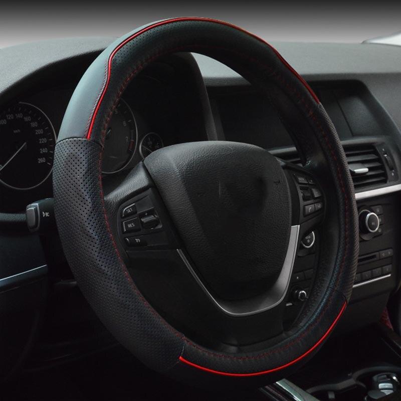 Cuero genuino cubierta del volante deportivo coche ruedas de - Accesorios de interior de coche - foto 2