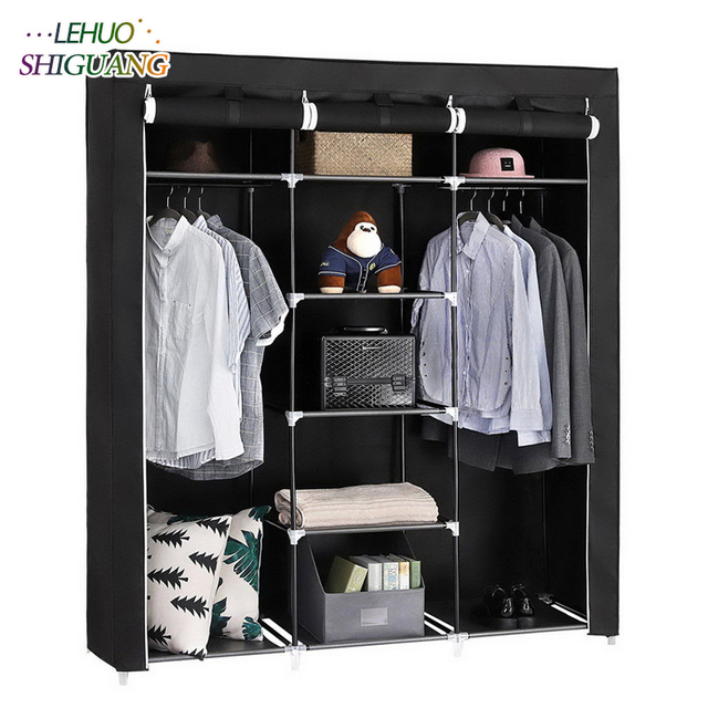 Simple Fashion 69 Portable Clothes Wardrobe Non Woven Steel Frame Reinforcement Standing Storage Organizer