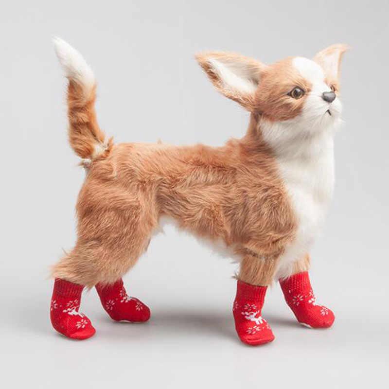 Hund Shose Herbst Winter Im Freien Wasserdichte Weihnachten Elch Patten Hund Socken Anti Slip Hund Stiefel für Hunde im Neuen Jahr