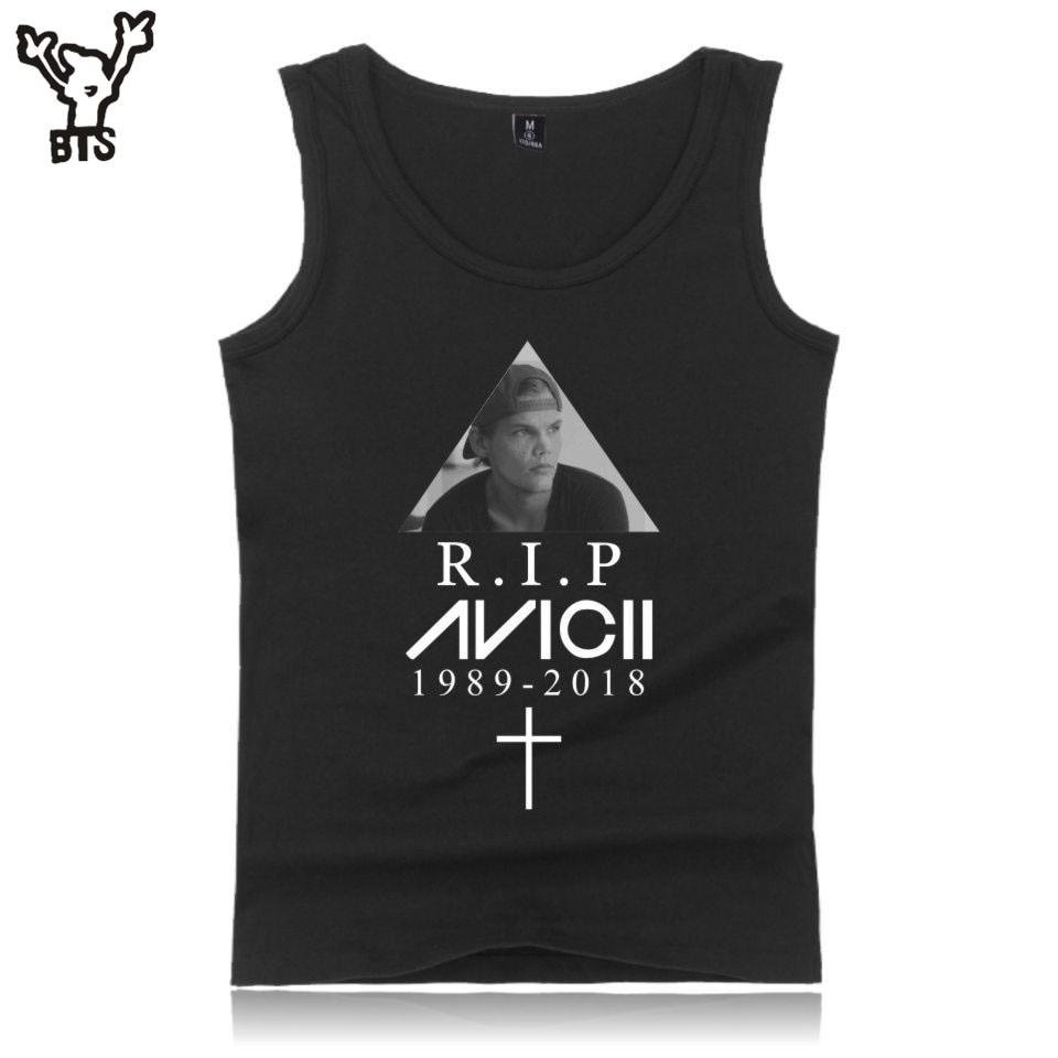 BTS R.I.P Avicii Man Summer Hot Sale Vest Sleeveless Shirt Summer Cool Tank Top Funny Bodybuilding Fitness Men Anime Print 4XL