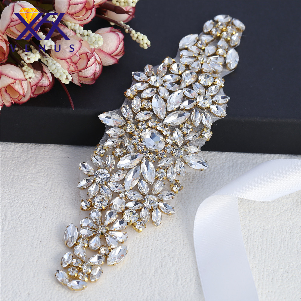 XINFANGXIU (10 pieces )Bridal belt applique with hot fix clear rhinestone  rose gold claws rhinestone applique pretty -in Rhinestones from Home    Garden on ... a0694dcb1dff