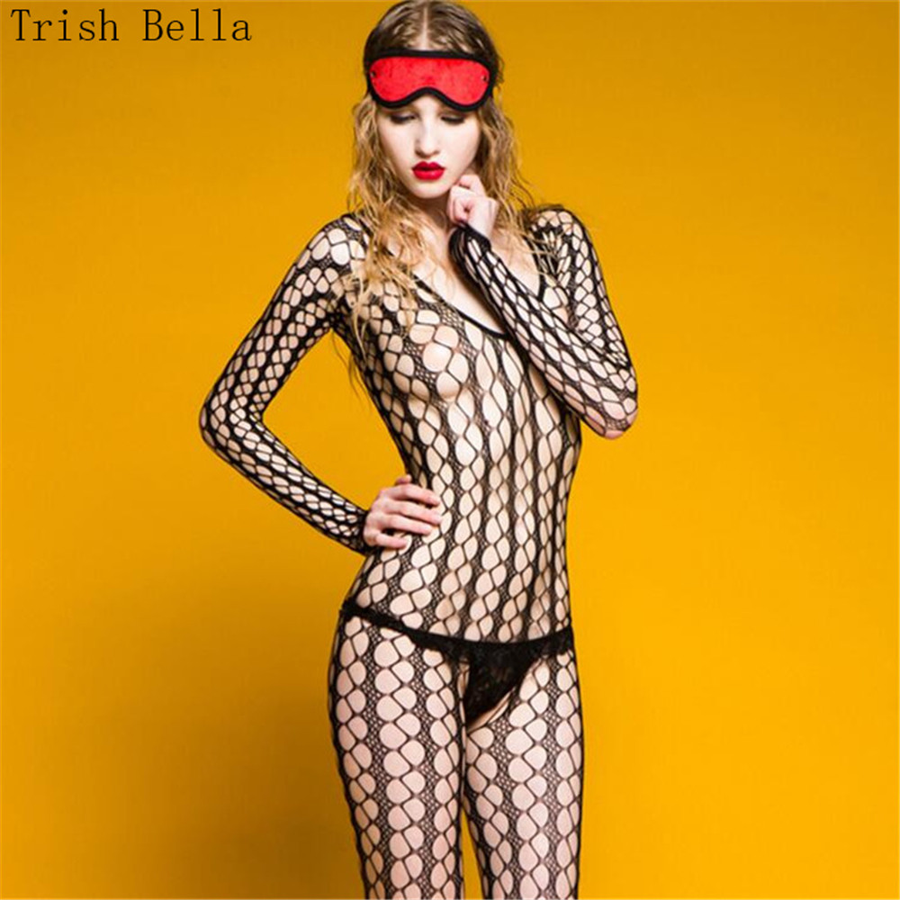 New Transparent Hollow Out Net Clothing Socks Dew Buttocks Fishnet Lingerie Bodystocking Body Sexy Costumes Catsuit Open Crotch
