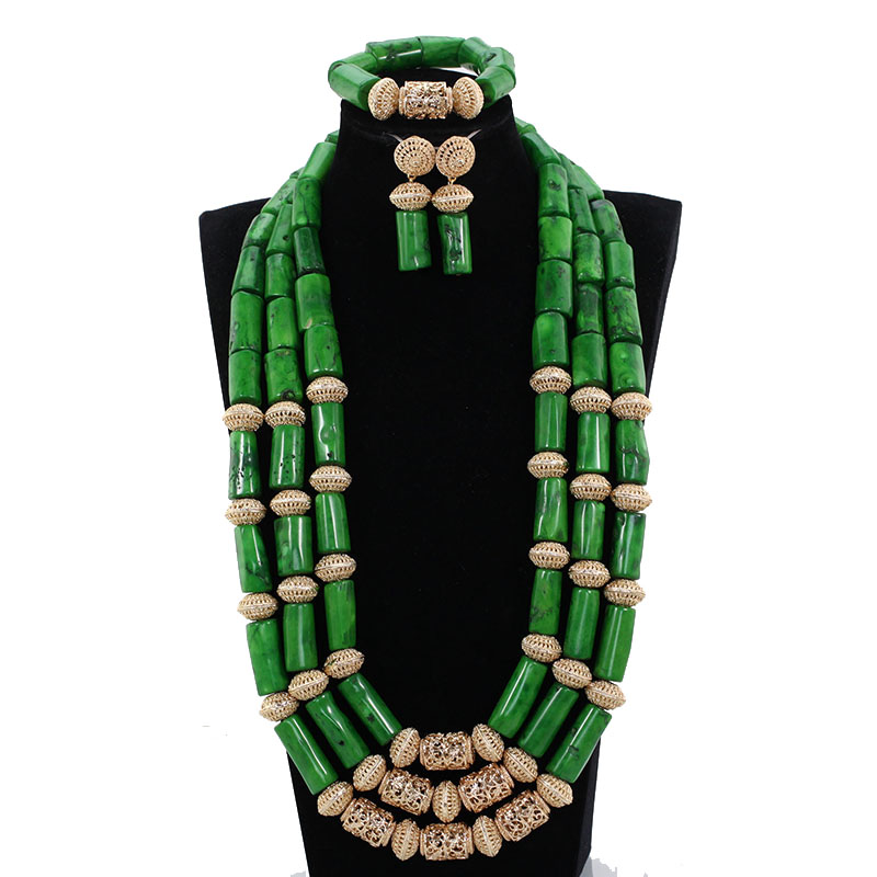 Fabulous Green Coral Beads Nigerian Wedding Jewelry Set 30 inches Long Coral Bridal Statement Necklace Set Gift CNR850