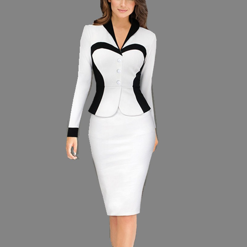 745aba500f9 Detail Feedback Questions about Fmasuth Work Office Dress Spring Full Sleeve  Elegant Patchwork V Neck Midi Fake 2 Piece Women Pencil Dress Pink 2XL  SL0729 ...