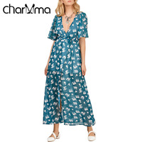 CharMma Casual Floral Print Women Long Soft Dress Sexy Deep V Neck High Slit Chiffon Maxi