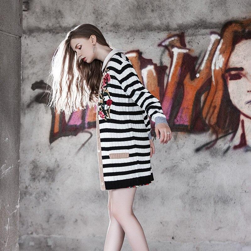 Col Longues Noir E0846 Hiver Manteau Et Chandail Blanc À Manches Automne Chart Broderie Cardigan Femme Nouveau See Tricot Rayé Style V 7Iymgb6vYf