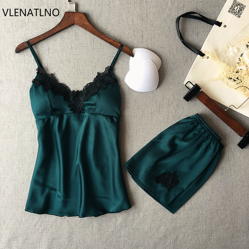 VLENATLNO Women Pajamas Satin Sleepwear Pijama Silk Home Wear Lace Home Clothing Chest Pads Spaghetti Strap Sleep Lounge Pyjama