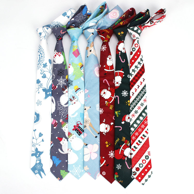 2019 Brand New Hot Sell Men's Fashion Christmas Slim Neck Ties For Man Casual Skinny Tree Printed Adults Male Necktie Corabtas