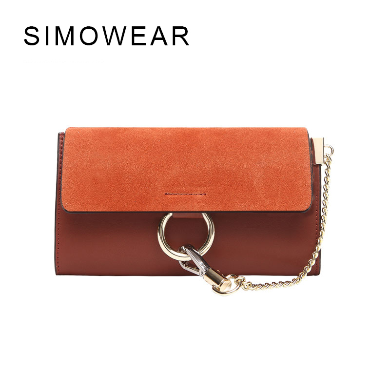 SIMOWEAR 2017 New Arrive Brand Famous Women Bag Flap Genuine font b Leather b font font