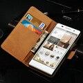 Роскошные Натуральная Кожа Книга Чехол Для Huawei Ascend P6 Книгу Флип С Подставкой Слот Дизайн Карты Черный Корабль Падения